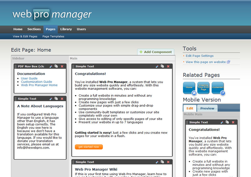 Components for Web Pro Manager